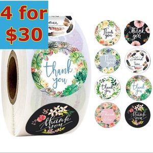 """250- 1"""" Floral Thank You Stickers / 8 designs"""